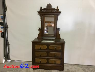 Auction62 Com Antique Dresser With Marble Top And Ornate Mirror
