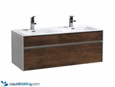 Liquidbidding Fitto Rose Wood Wall Mount Modern Bathroom Vanity In