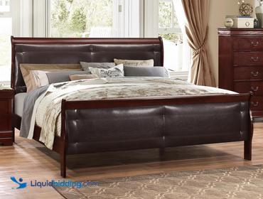 LiquidBidding | Global Furniture Marley Merlot King Headboard And  Footboard, Side Rails Are Not Included, Unused