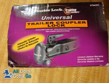 Black Master Lock 379ATPY 2 Pack Universal Trailer Coupler Lock