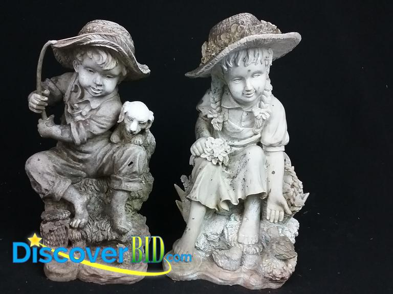 DiscoverBid.com | (2) FISHING BOY AND GIRL HOLDING FLOWER, 18u201d RESIN GARDEN  STATUES. THIS GARDEN STATUE SET IS IN.