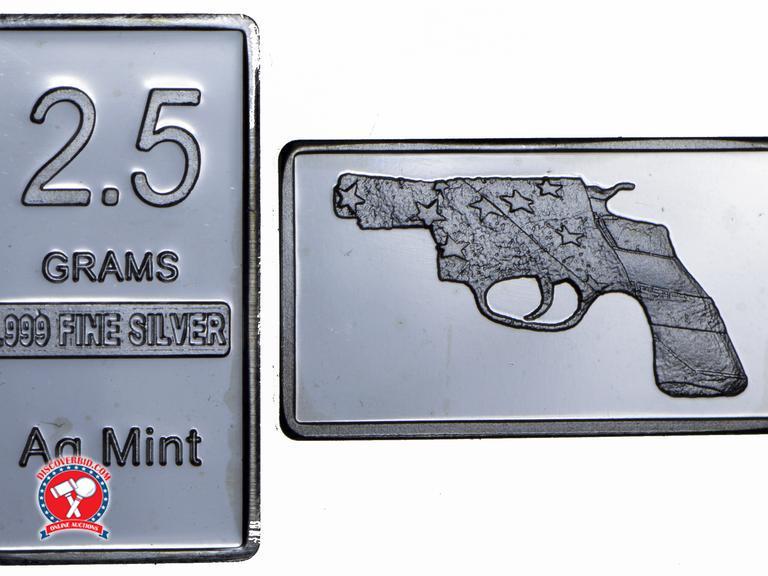 Silver American Flag 2.5 Gram Bar .999 Fine