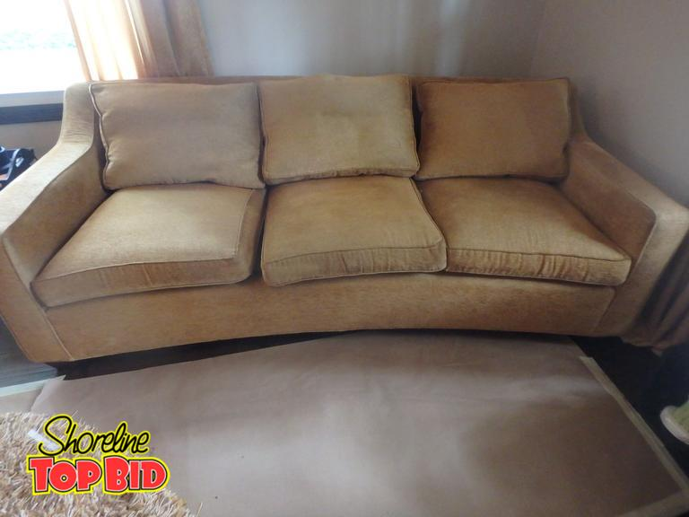 Shoreline Top Bid Mid Century Curved Gold Couch Has Cushion Strap