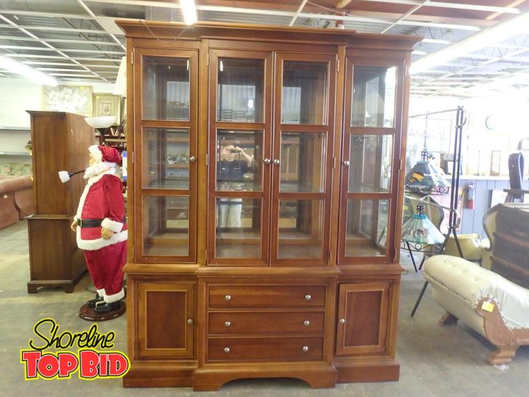 Shoreline Top Bid | Stanley Furniture Hutch Upper Has 2 Glass  Shelves Mirror In Back 4 Doors W Panes Of Glass In Front Lighting  Inside Lower 3 Drawer, ...