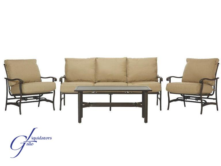 Auctions on 64 home decorators collection gabriel bronze 4 piece espresso patio deep seating set with beige cushions