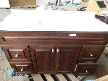 BidJackson.com | Bertch Dark Oak Base With White Sink Top U0026 Dark Cherry  Medicine Cabinet