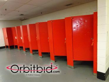1 entire stall unit with (8) stalls (includes a handicapped stall), fixtures not included.