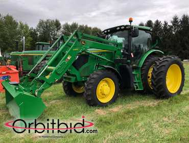 (1) 2014 John Deere 6150R tractor, SN: 1RW6150RJER012775, 836 hours, H360 loader attachment, MFWD...