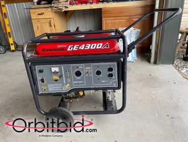 (1) Kawasaki Generator GE4300A, rarely used as backup unit only, comes with wheel kit and folding...