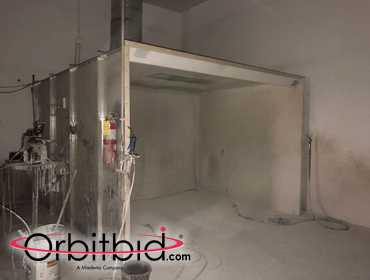 "(1) 2001 JBI, model 1DB-127, 87"" x 10' x 11' 3-sided, dry-type paint spray booth, S/N 34791A,..."