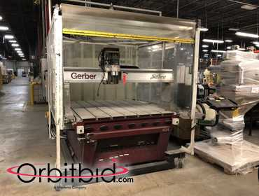 "(1) Gerber Sabre, model 404, 3-axis CNC production router machine with 60"" x 72"" table with 55"" x..."
