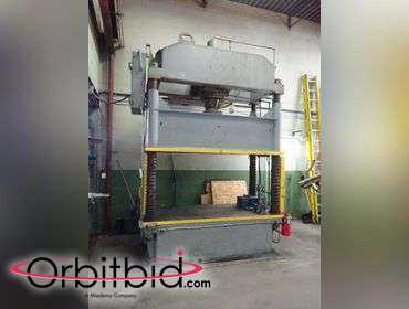 "(1) Dake 75 ton Spotting Press, 4 post hydraulic, 43"" x 98"" Bed, 43"" x 82"" between posts, 43""..."