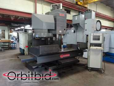 "(1) Sharnoa model SDC52D Vertical CNC Machining Center, s/n: 85655, 27"" x 67"" T-slot table, 52"" x..."