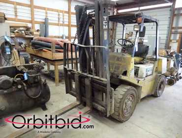 "TCM model FHG30, 6000 lb gas fuel lift truck, two stage mast, 60"" forks, hard tire, 4028 hours,..."