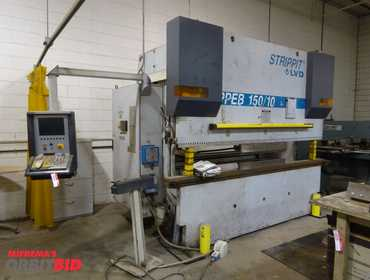 (1) Strippit model LVD - PPEB-150-10 CNC Press Brake (1999), Type 150 BB-10 Cadman CNC control,...