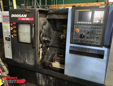 "2014 Doosan model Lynx 220L CNC Turning Center, 12"" swing, 24"" center, collet spindle nose, chip..."