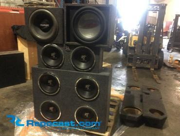 Repocast com® | Skid lot of various speakers,Amps and boxes