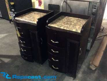 "Lot of (2) 4-Drawer Rolling Cabinets With Side Compartment And Granite Tops, Each Measures 19""..."