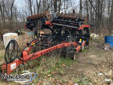 (1) Landoll 15 Shank Chisel Plow, model L22015, with hitch and hydraulics to back, five tire...