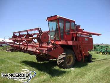 RangerBid com   Massey Ferguson 750 Combine, 14' grain head, 44 corn