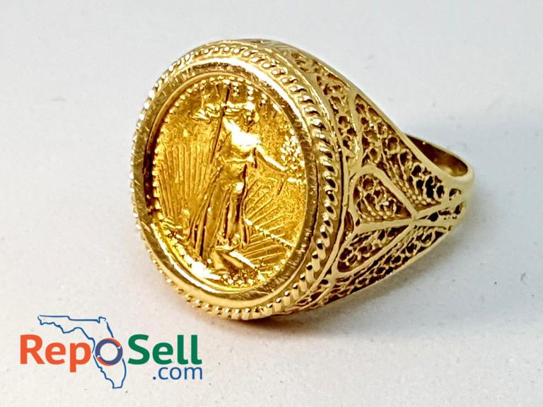 Reposell com | $5 US Gold Eagle coin ring, fancy filigree