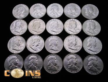 Coins & More Auction | MUST SEE BU Roll 1963-D Silver Franklin Half