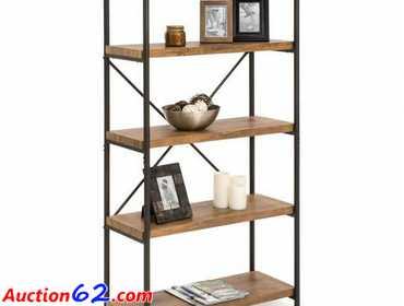 Auction62 com   4-Tier Industrial Bookshelf w/ Metal Frame, Wood