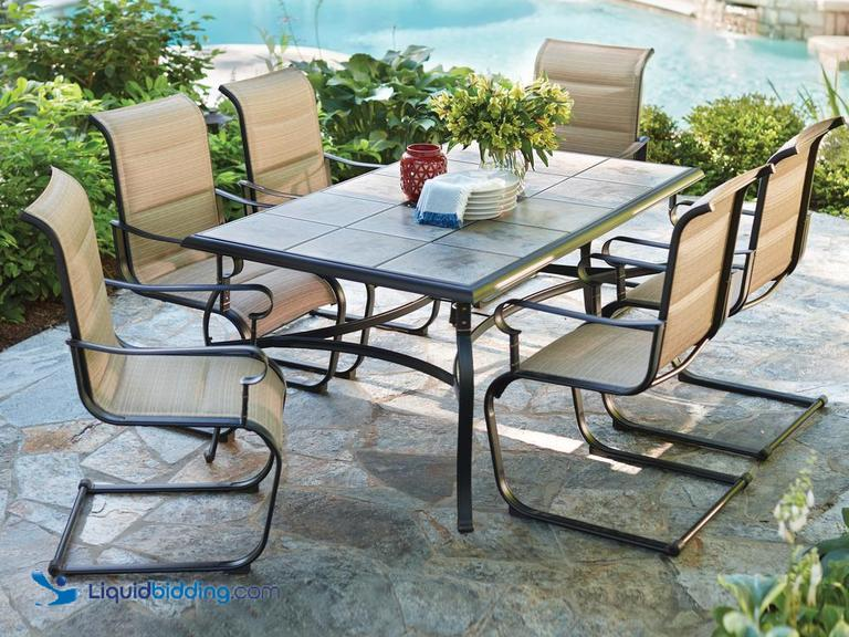 "Hampton Bay Belleville 7-Piece Padded Sling Outdoor Dining Set, Includes 39.5"" x 64"" Table &..."
