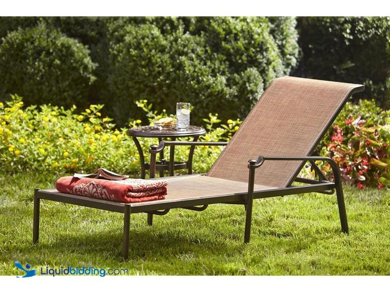 Hampton Bay Niles ParkSling Patio Chaise Lounge, Rust-Resistant Aluminum Frame, Weather-Resistant...
