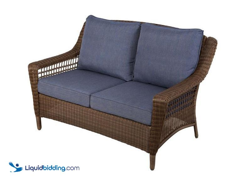 Hampton Bay Outdoor Patio Furniture Spring Haven Brown All-Weather Wicker Patio Loveseat with Sky...
