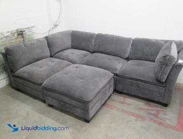 Wondrous Liquidbidding 5 Piece Microfiber Sectional Sofa Bralicious Painted Fabric Chair Ideas Braliciousco