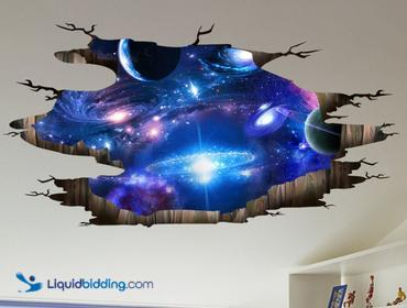 2-Provone Blue Purple Galaxy Wall Decals.  Removable sticker, 3D milky way.  Unused.  Ref#:1810BXT.