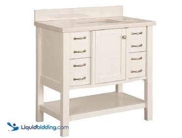 allen + roth Kingscote White Undermount Single Sink Bathroom Vanity with Engineered Stone Top ...