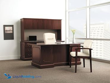 The Hon Company Double Pedestal Executive Desk, Retails for $2,000, Desk has two box drawers for...