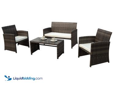 PATIOROMA 4pc Rattan Sectional Furniture Set with Cream White Seat Cushions, Missing Hardware,...