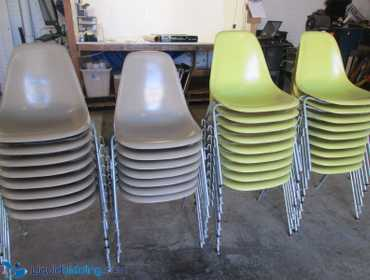 (33) Lot of 33 Herman Miller Fiberglass Stacking Chairs with Metal Legs Conditions Vary Used