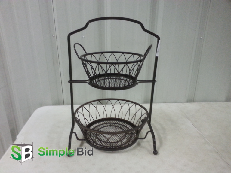 "Decorative 2 Tiered Heavy Black Metal Basket - approx. 21"" L"