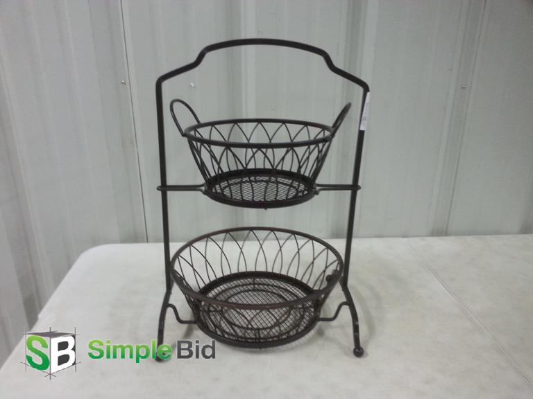"Decorative 2 Tiered Heavy Black Metal Basket - approx. 21"" L"