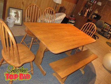 Prime Shoreline Top Bid Solid Oak Farm Table With 4 Spindle Back Alphanode Cool Chair Designs And Ideas Alphanodeonline